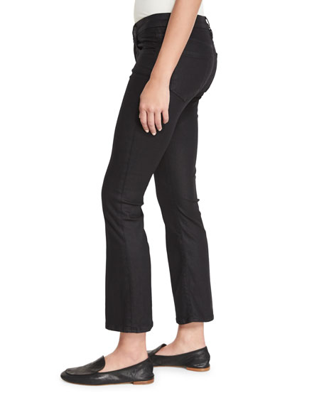 Le Crop Mini Boot-Cut Coated Jeans, Carter