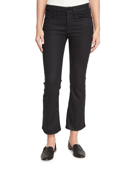 FRAME Le Crop Mini Boot-Cut Coated Jeans, Carter
