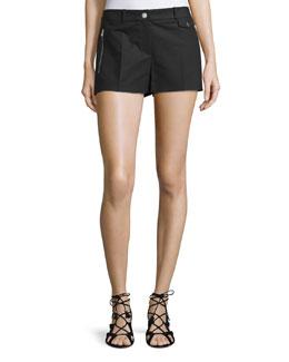 Mid-Rise Slim-Leg Shorts, Black