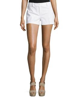 Flat-Front Mid-Rise Shorts, Optic White