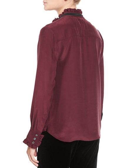Ruffle Neck Long-Sleeve Blouse, Mahogany