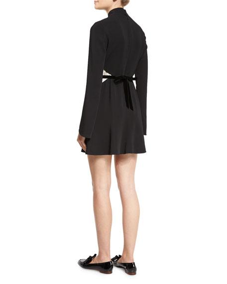 Kristi Bicolor Lace-Inset Turtleneck Dress