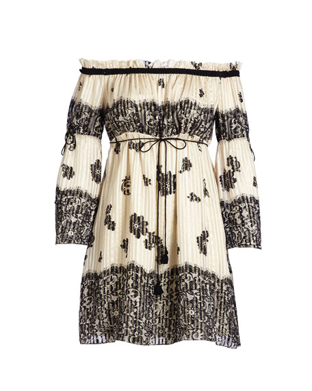Danica Off-the-Shoulder Lace-Print Babydoll Dress, Ecru/Black
