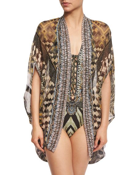 Open-Front Embellished Silk Cardigan/Cape Coverup, Weave of the Wild