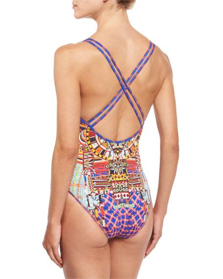Embellished Reversible One-Piece Swimsuit, Rainbow Warrior
