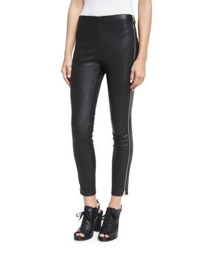 Chatel Leather Zip Leggings, Black