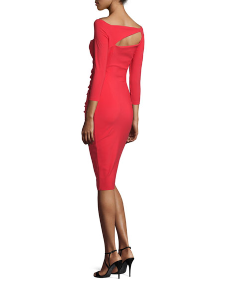 3/4-Sleeve Ruched Ponte Sheath Dress, Red Passion