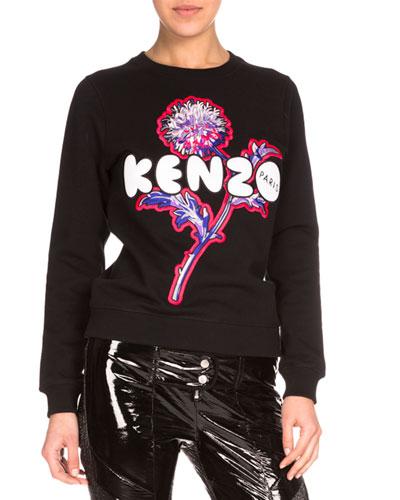 Dandelion Crewneck Pullover Sweatshirt, Black