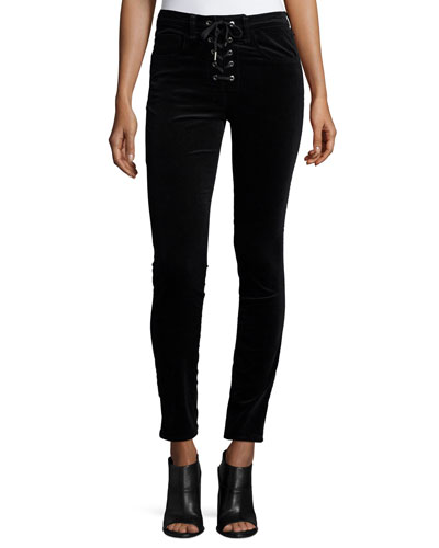 Velvet Lace-Up High-Rise Skinny Pants, Black