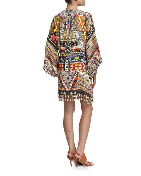 Embellished Silk Kimono Dress w/Belt, Beads of Love