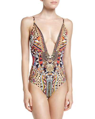 Plunging V-Neck Embellished One-Piece Swimsuit, Bird's Eye View