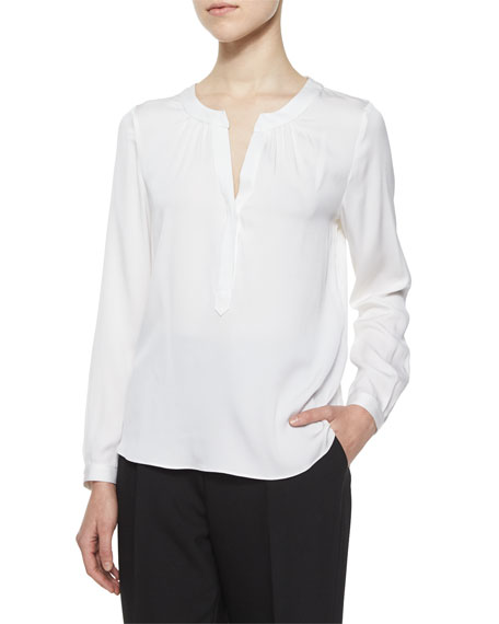 Milly Tessa Long-Sleeve Silk Blouse, White