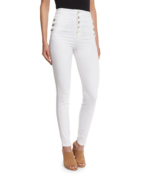 Natasha Sky High Button-Fly Coated Skinny Jeans, Blanc