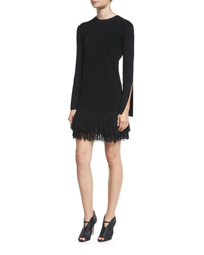 Slit-Cuff Fringe Mini Dress, Darkest Black