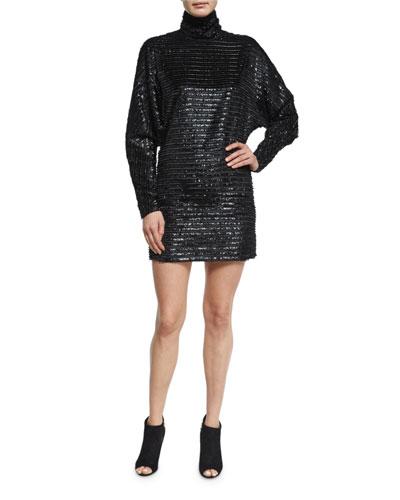 Sequin Turtleneck Dress, Black