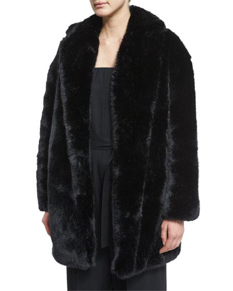 Faux-Fur Coat, Black