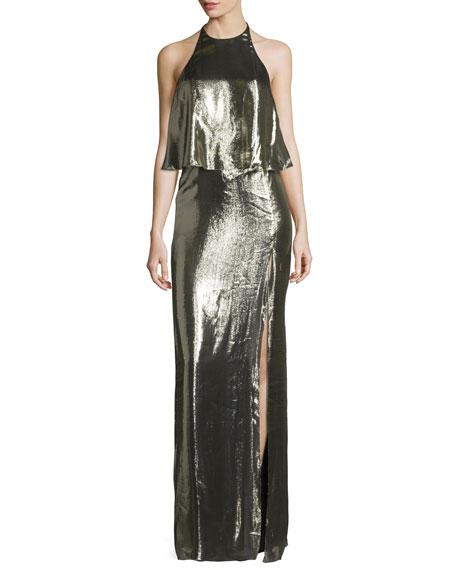 Metallic Jersey Halter Popover Gown, Antique Brass