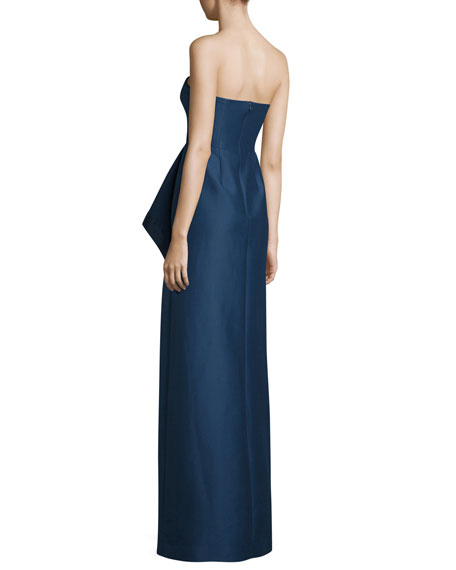 Strapless Structured Faille Draped Column Gown, Navy