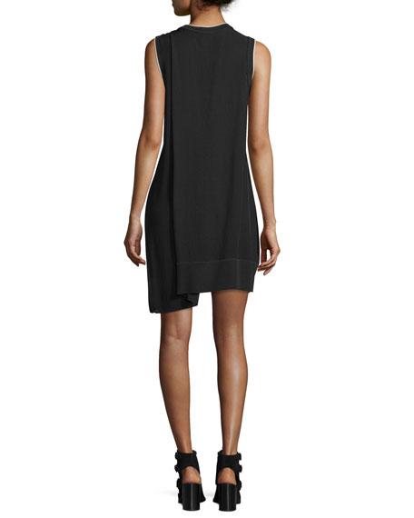 Abby Sleeveless Crepe Mini Dress, Black