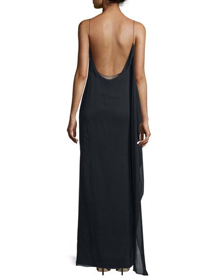 Irina Sleeveless Stretch Chiffon Maxi Dress, Black