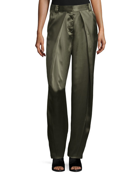 Carlos Draped Silk Pants, Army Green
