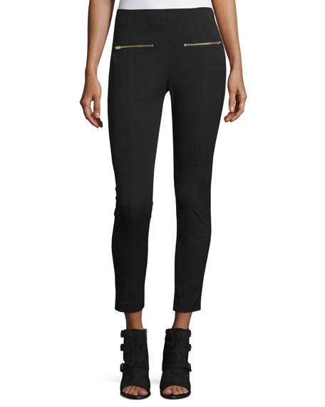 Annie Cropped Ponte Pants, Black