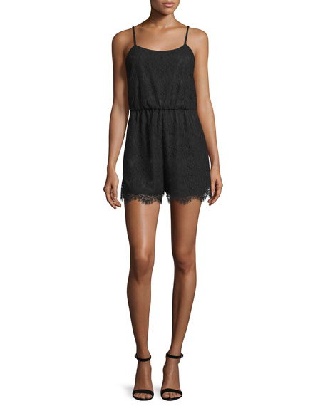 Alice + Olivia Cassia Sleeveless Lace Romper