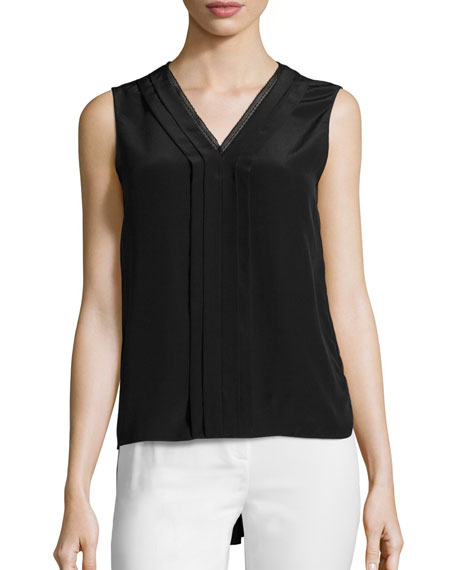 Emi Sleeveless V-Neck Silk Blouse, Black