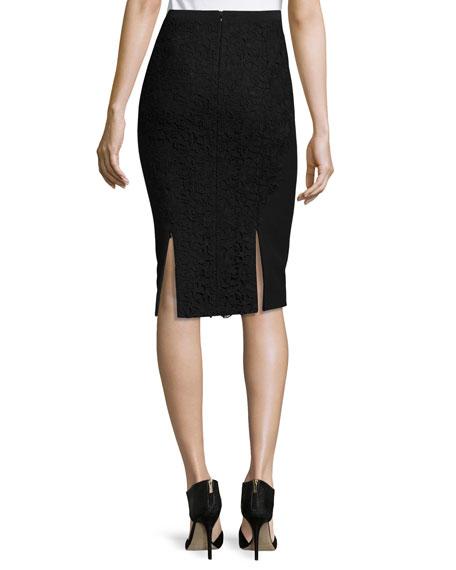 Harla Lace Combo Pencil Skirt, Black
