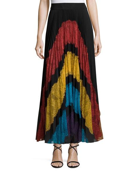 Romona Lace-Panel Plisse Maxi Skirt, Multicolor