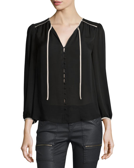 Medford Contrast-Trim Georgette Top
