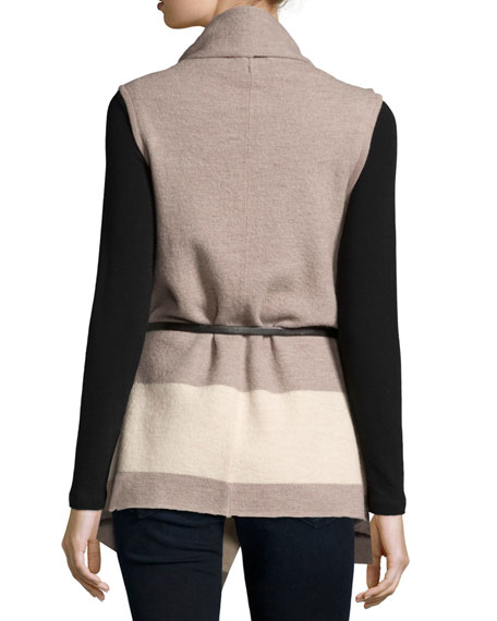 Ligere Colorblock Belted Wool Vest