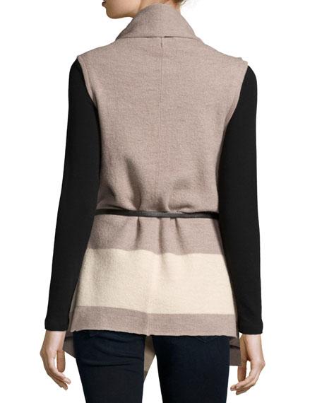 Ligere Colorblock Belted Wool Vest