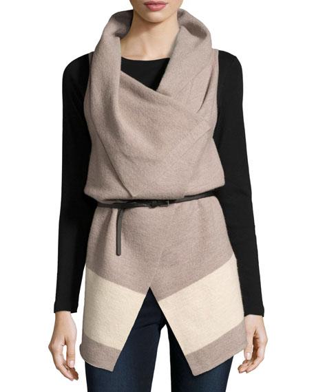 Joie Ligere Colorblock Belted Wool Vest