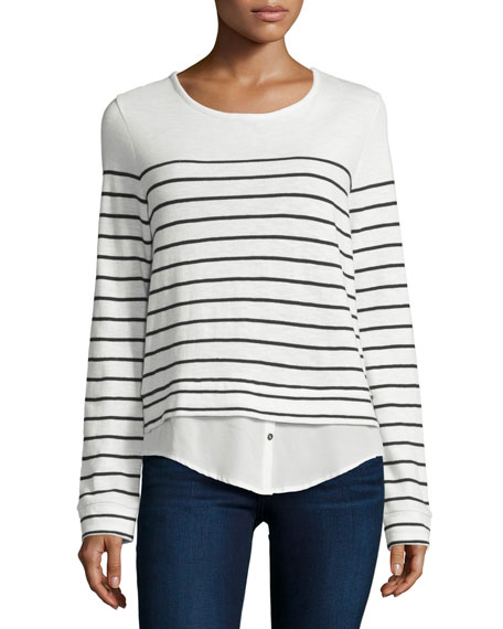 c5636b610a145 Joie Lakelyn Mariner-Stripe Long-Sleeve Combo Top
