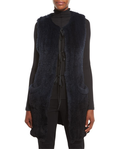 Jill Long Ribbon-Tie Rabbit Fur Vest, Stargazer/Black