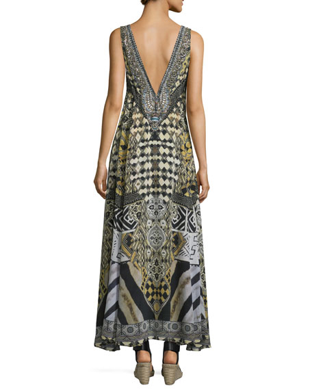 Embellished V-Neck Maxi Dress, Weave of the Wild