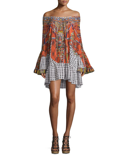 Long-Sleeve Embellished Frill Dress, Tartan Trance