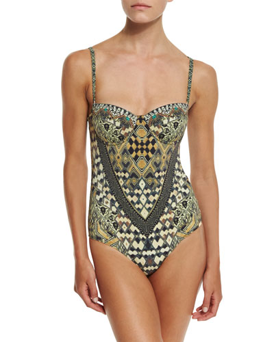 Embellished One-Piece Swimsuit, Weave of the Wild