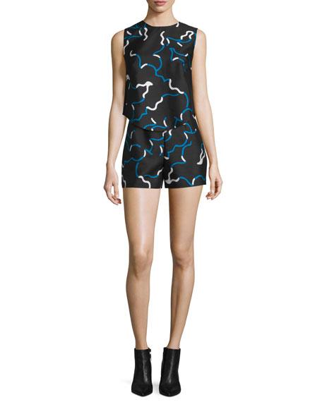 Camry Printed Mikado Shorts, Balestra Black