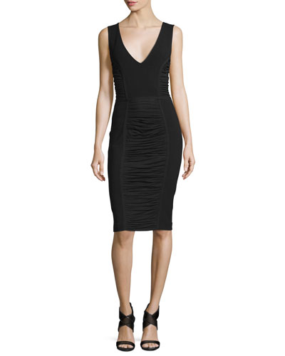 Alannah Shirred-Panel Sheath Dress