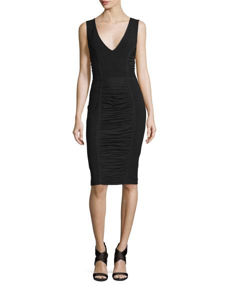 Alannah Shirred-Panel Sheath Dress