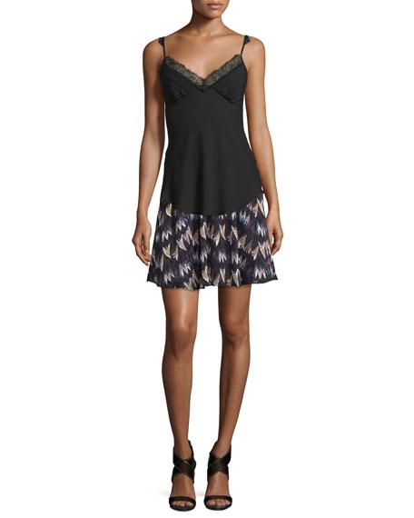 Army of Hearts Tweed-Trim Silk Miniskirt, Wild Rose/Tan