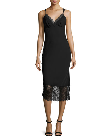 Margarit Lace-Trim Slip Dress, Black
