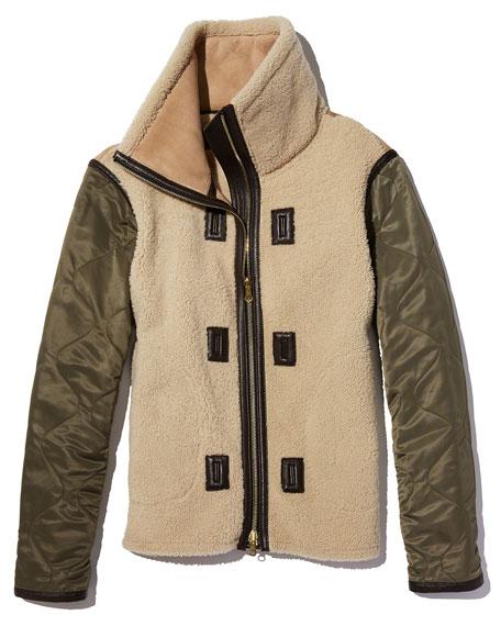 Elson Shearling Fur Liner Jacket, Natural