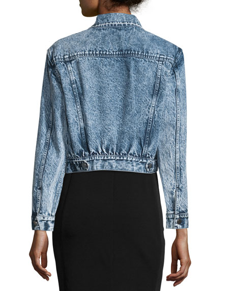 Chloe Embellished Cropped Denim Jacket