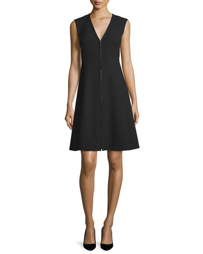 Emna Sleeveless Zip-Front Dress, Black
