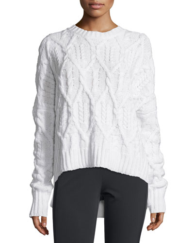 Karenia Aural Cable-Knit Sweater, Ivory