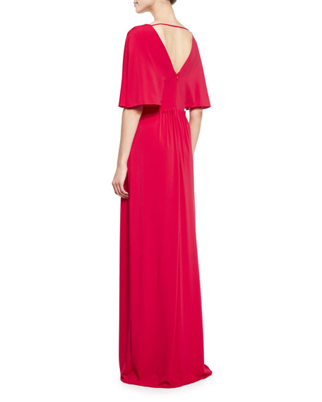Cape-Sleeve V-Neck Stretch Crepe Gown, Carmine