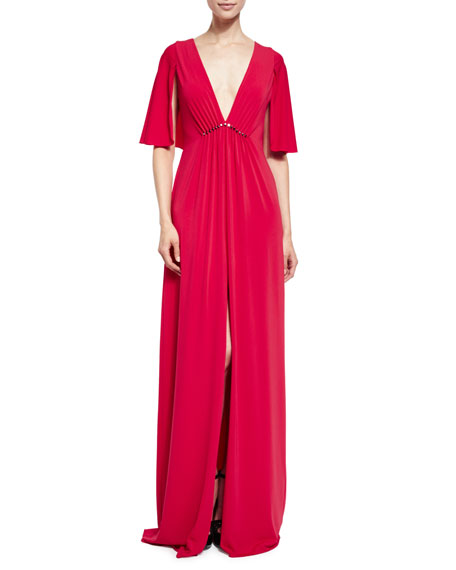 Halston Heritage Cape-Sleeve V-Neck Stretch Crepe Gown, Carmine